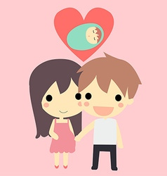 cute couple and baby vector image vector image