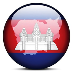 Map on flag button of kingdom of cambodia vector
