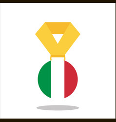 medal with the italy flag isolated on white vector image
