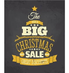 Retro Chalkboard Style Christmas Sale Poster vector image