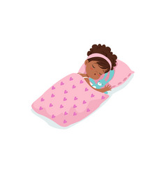 adorable african little girl sleeping on her bed vector image