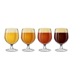 Beer glass set Lager and ale amber stout vector image vector image