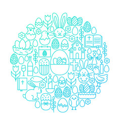 easter line icon circle design vector image