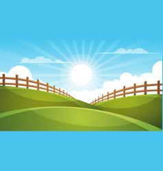 fence cartoon landscape sun cloud sky vector image
