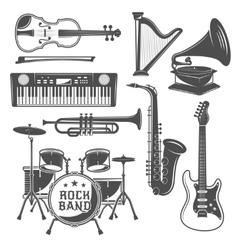 Music Monochrome Elements Set vector image