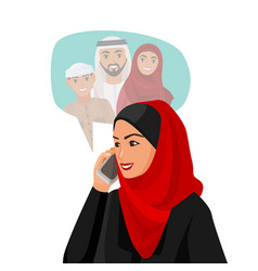 Muslim woman in hijab talking over phone with vector