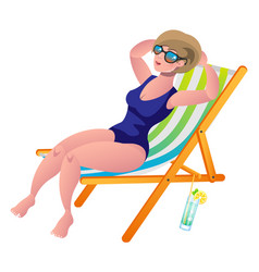 young woman sunbathing lying on the beach in a vector image