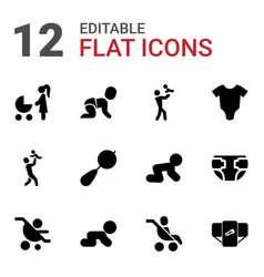 12 infant icons vector
