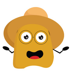 A yellow monster wearing a brown summer hat or vector