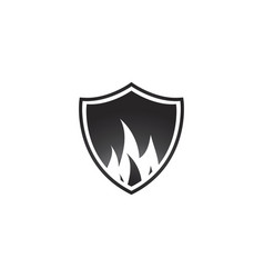 abstract black fire shield logo design vector image