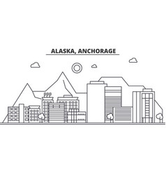 alaska anchorage architecture line skyline vector image