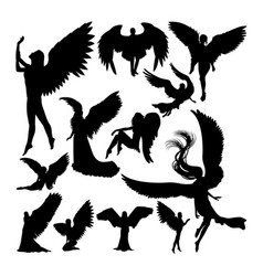 angel silhouettes vector image