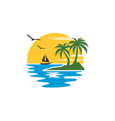 beach logo template vector image