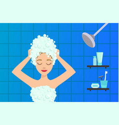 beautiful young woman washing her hair vector image