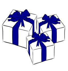 boxes with gifts and bows vector image