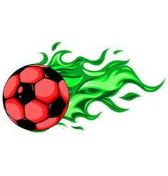 burning soccer ball on white background vector image