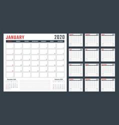 Calendar for 2020 starts sunday calendar vector