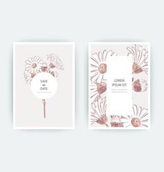 Card with flowers calendula chrysanthemum vector