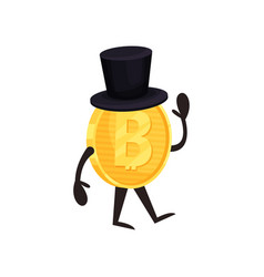 Cartoon humanized bitcoin character with black vector
