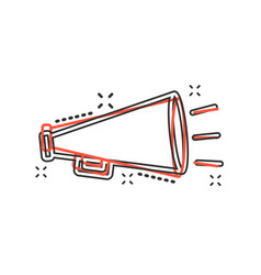 cartoon megaphone icon in comic style bullhorn vector image
