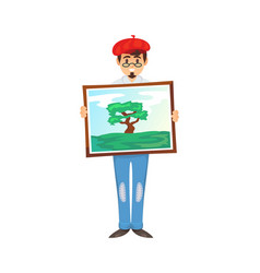 Cheerful painter showing picture vector