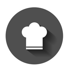 chef hat icon in flat style cooker cap with long vector image