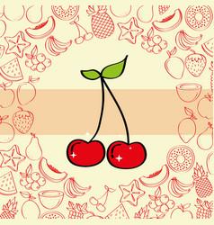 cherries fruits nutrition vector image