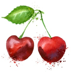 Cherry logo design template fruit or food vector image