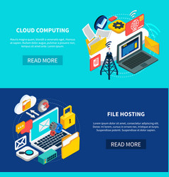 Cloud computing and file hosting banners vector