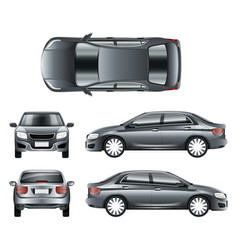 Color car sedan in different point views vector