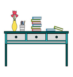 Colorful wood desk with drawers objects and books vector