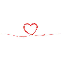 continuous line heart border on white background vector image
