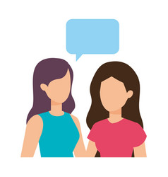 couple of girls with speech bubble vector image