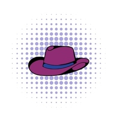 Cowboy hat icon comics style vector image
