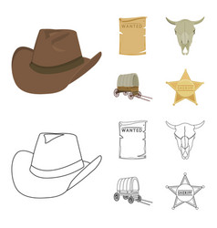 cowboy hat is searched cart bull skull wild vector image