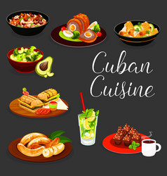 Cuban meat snack vegetable salads dessert drink vector