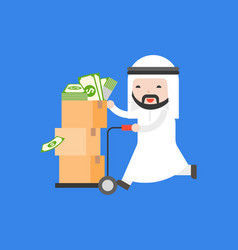 cute arab businessman push cart full with dollar vector image