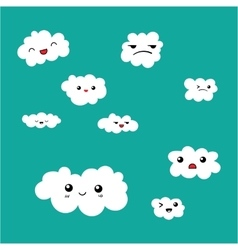 Cute Clouds icon set on blue sky background vector image