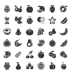cute fruit and berries solid icon set 2 vector image