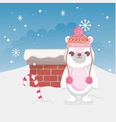 cute polar bear merry christmas vector image