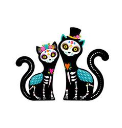 day dead dia de los muertos cats skulls vector image