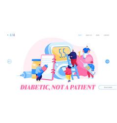 Diabetes disease landing page template tiny vector