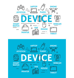 Digital devices and technology scheme vector