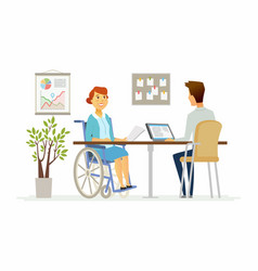 Disabled woman in the office - modern cartoon vector