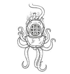 Diver helmet doodle vector