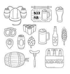 doodle icons set of beer symbols beer vector image