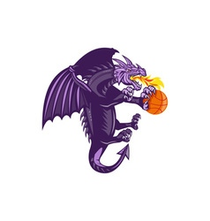 Dragon Fire Holding Basketball Isolated Retro vector