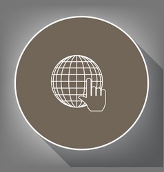 earth globe with cursor white icon on vector image