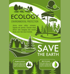 Ecology protection banner for save earth design vector