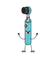 Electric toothbrush cartoon in colored crayon vector